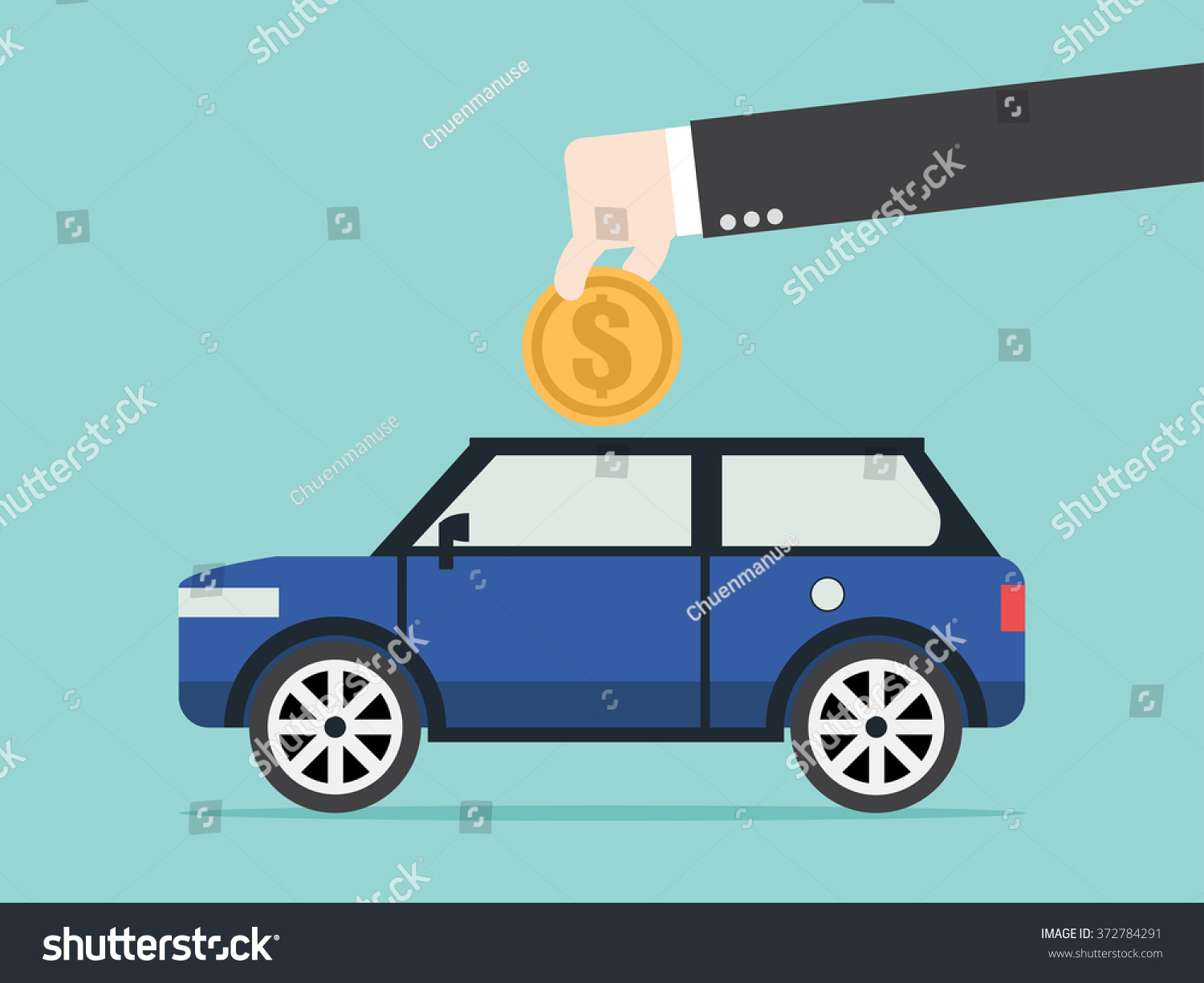 Save Money Car Asset Property Flat Stock Vector 372784291 ...
