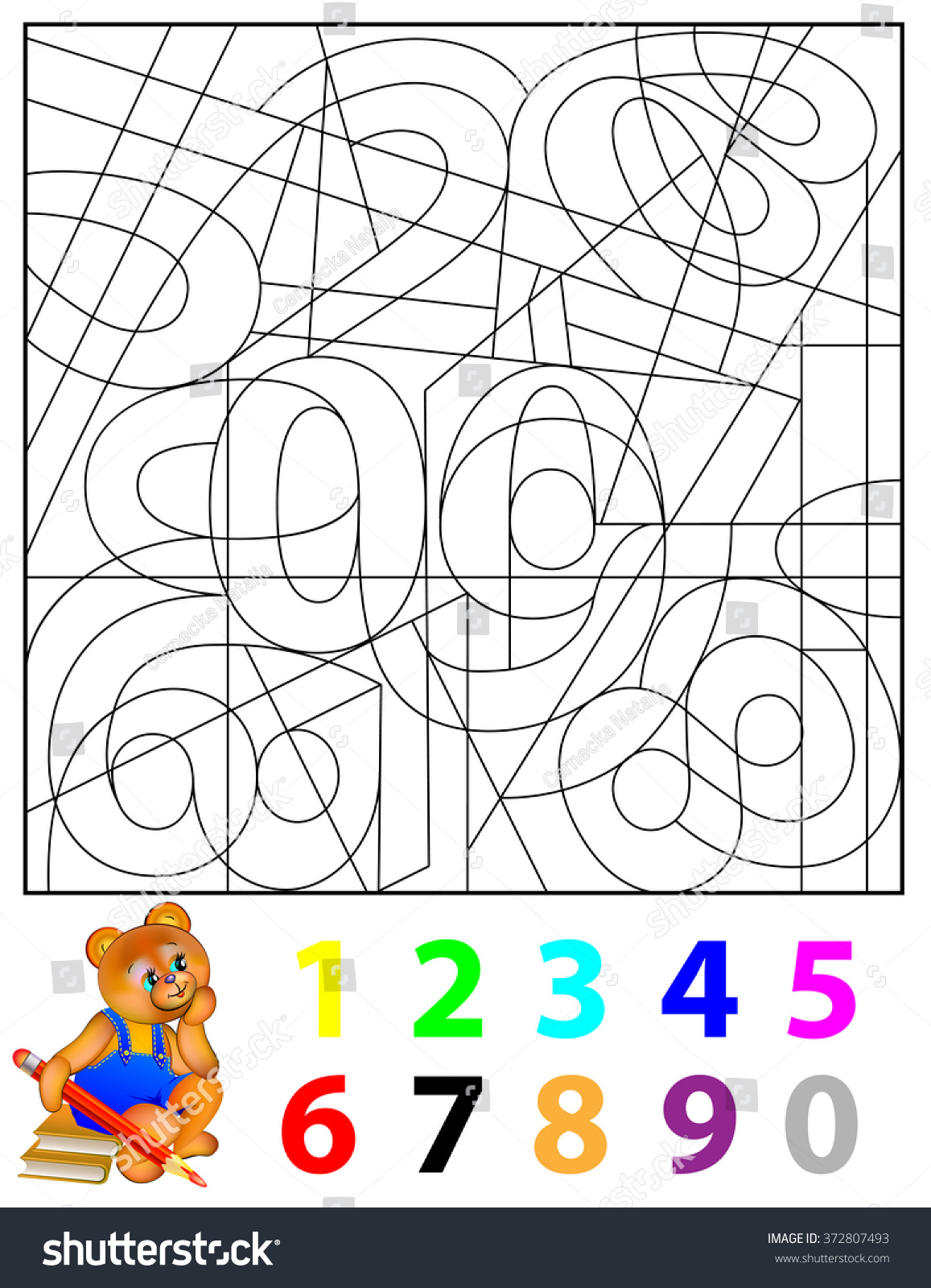 Exercises Children Needs Find Hidden Numbers Stock Vector 372807493