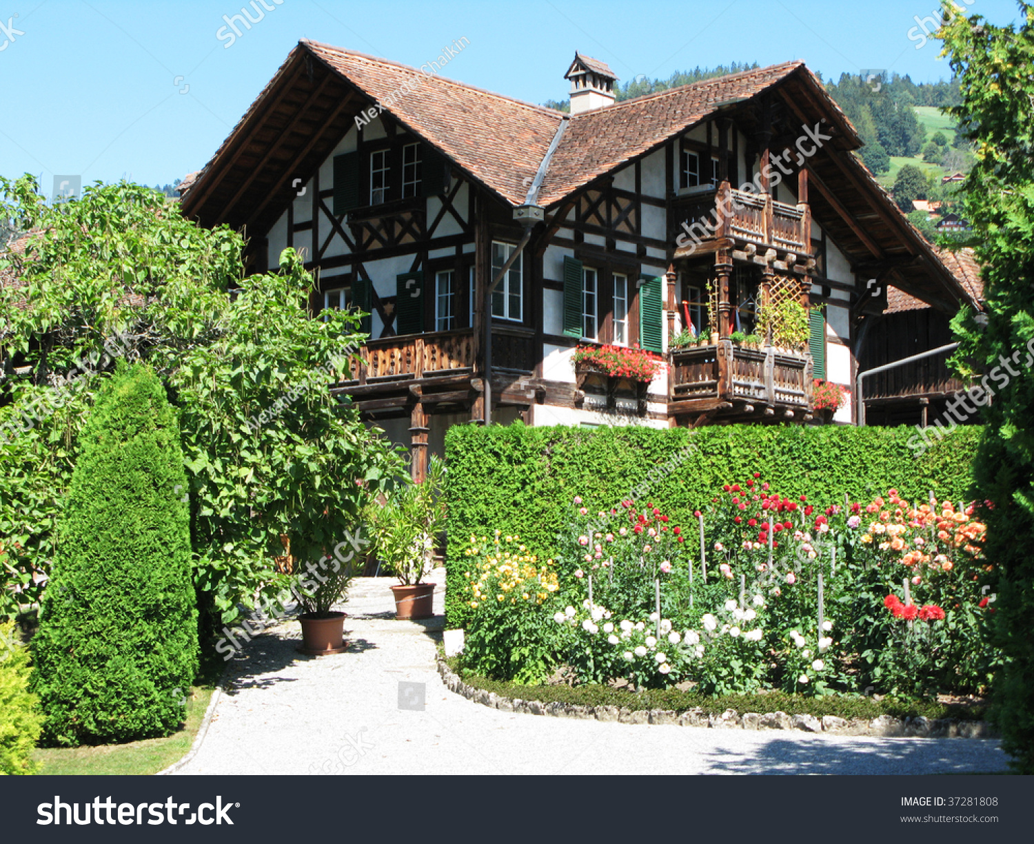 Traditional Wooden Swiss House Stock Photo 37281808