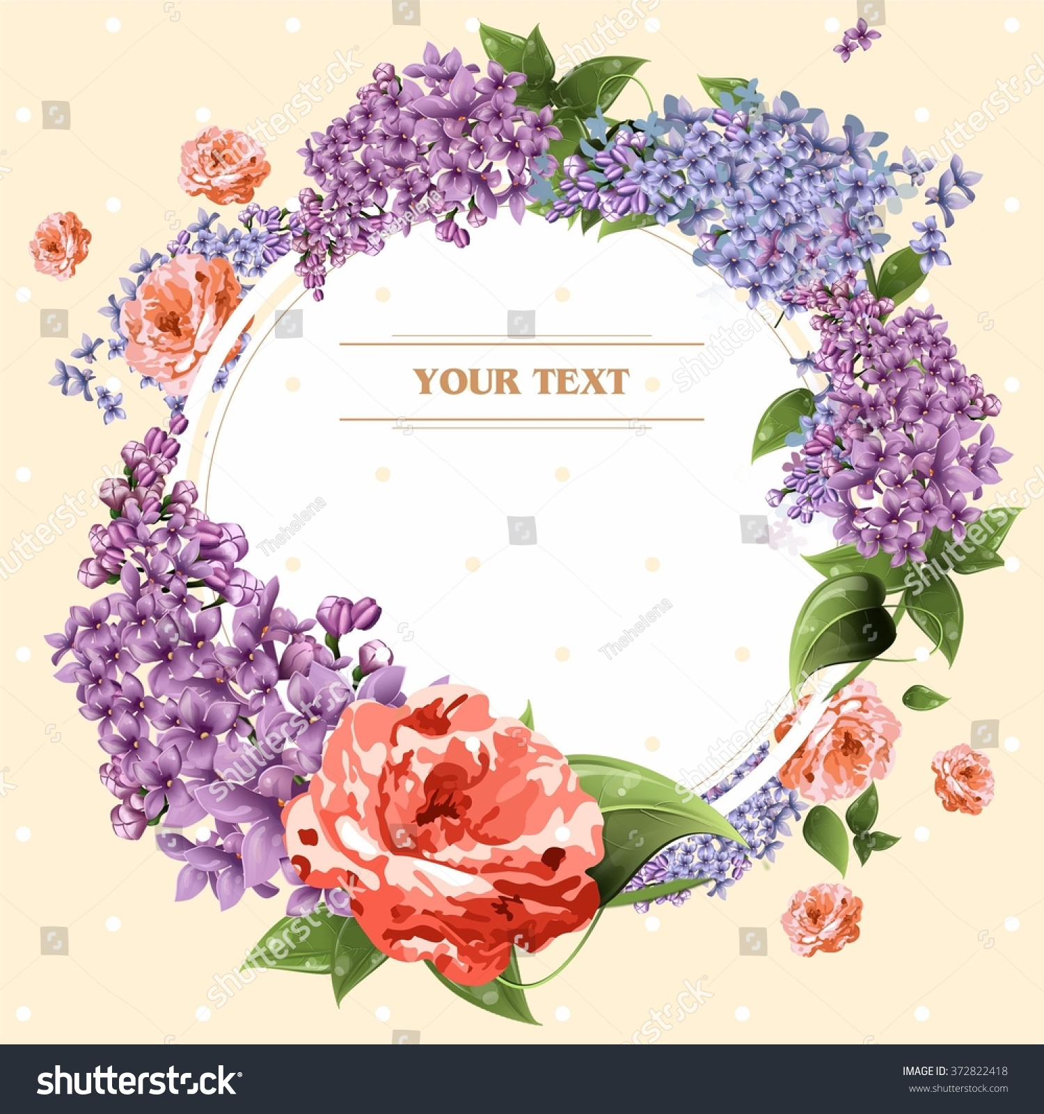 Beautiful Card Flower Greeting Card Lilacs Stock Illustration