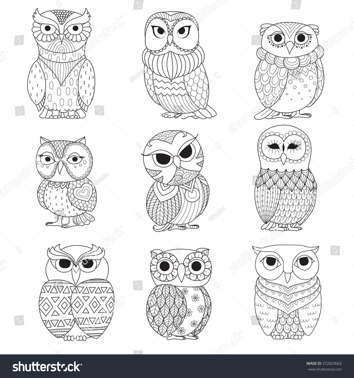 The coloring book tattoo - Nine Owls Design For Coloring Book Tattoo Shirt Design And Other Decoration