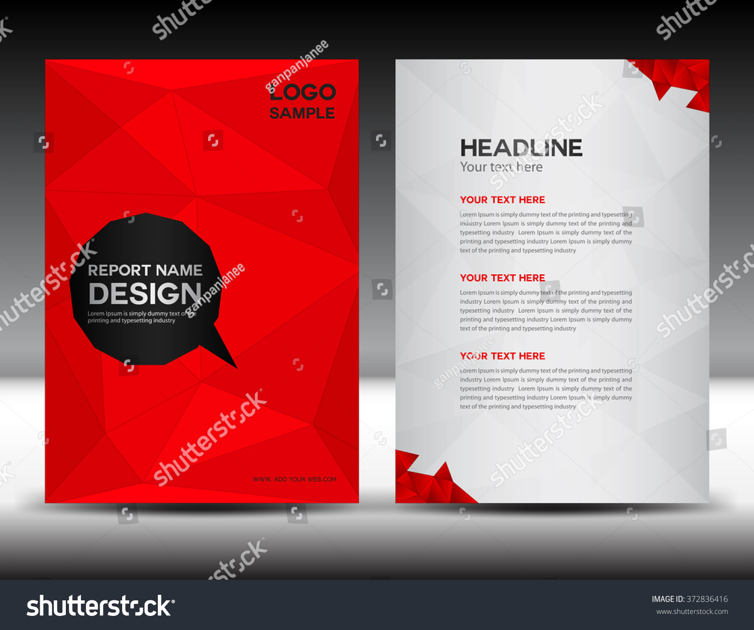 brochure cover design - red cover design annual report template stock vector