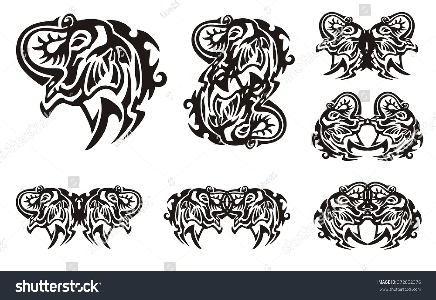 Tribal Elephant Head Symbols Muzzle Elephant Stock Vector Royalty