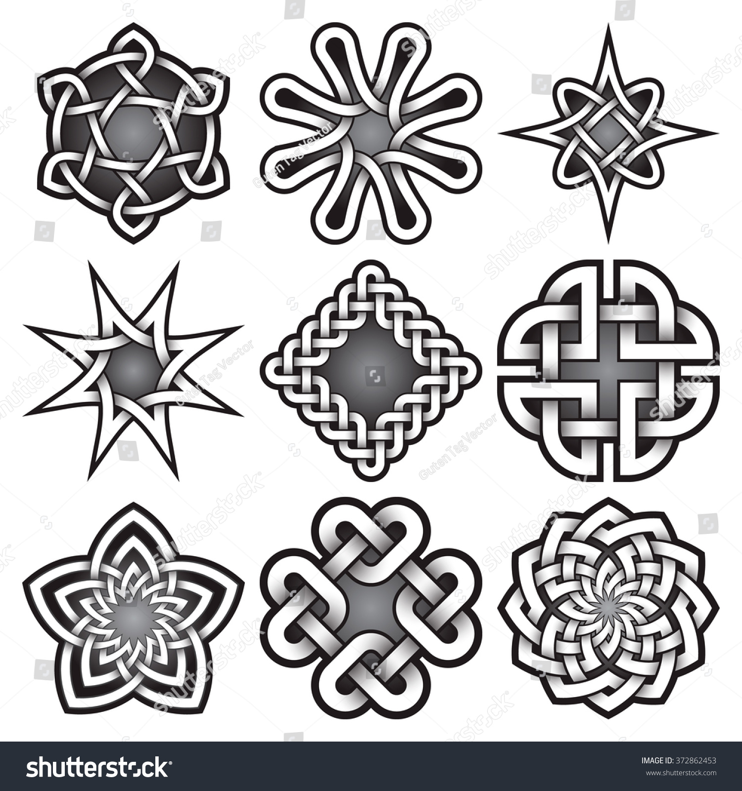 Set Logo Templates Celtic Knots Style Stock Vector Royalty Free