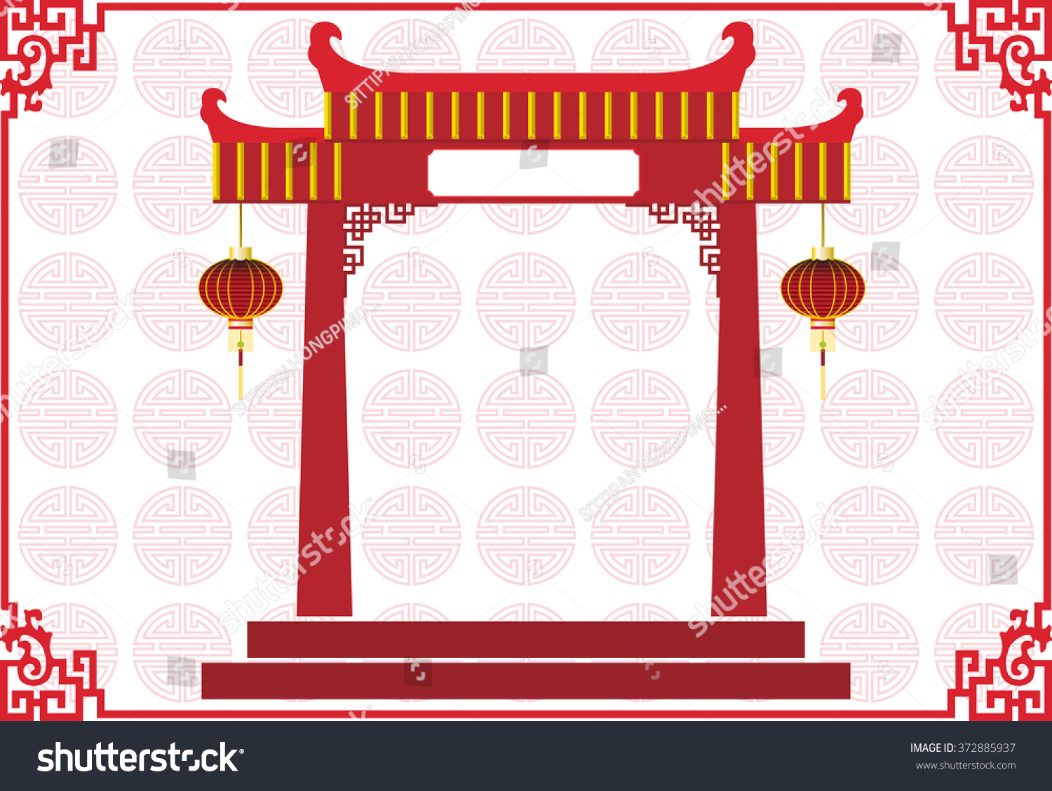 chinese temple building with chinese lamp and abstract chinese new year background texture on light