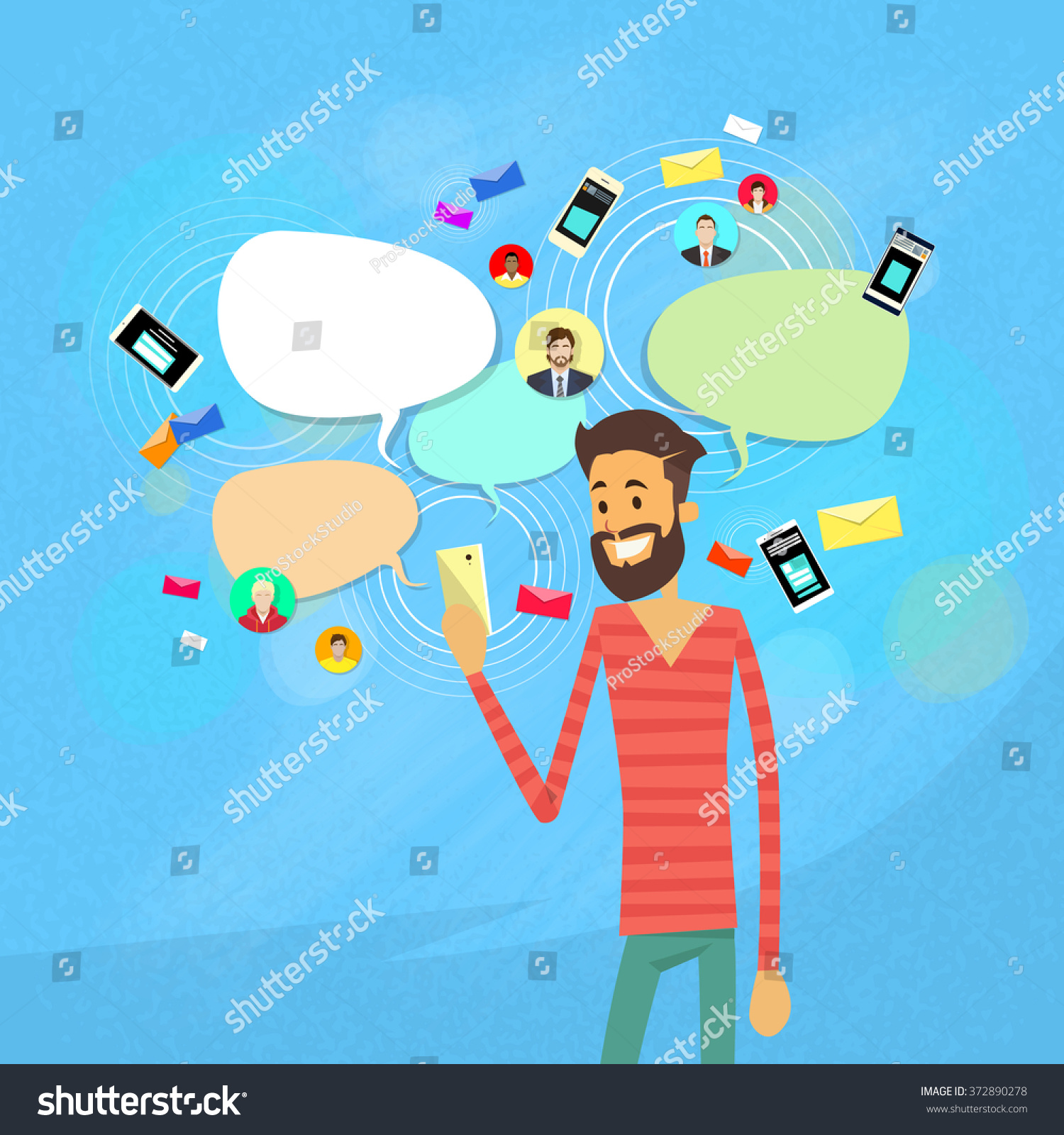Man Chatting Texting Social Network Communication Flat Vector Illustration