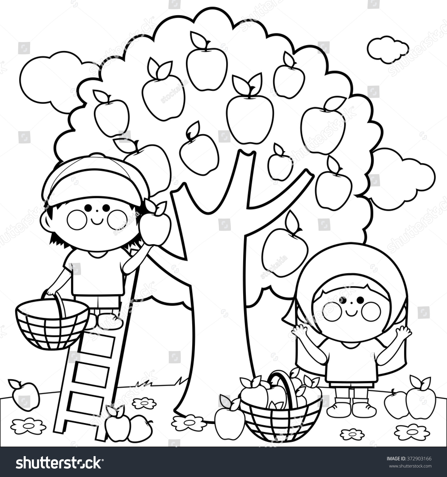 Children Picking Apples Coloring Book Page