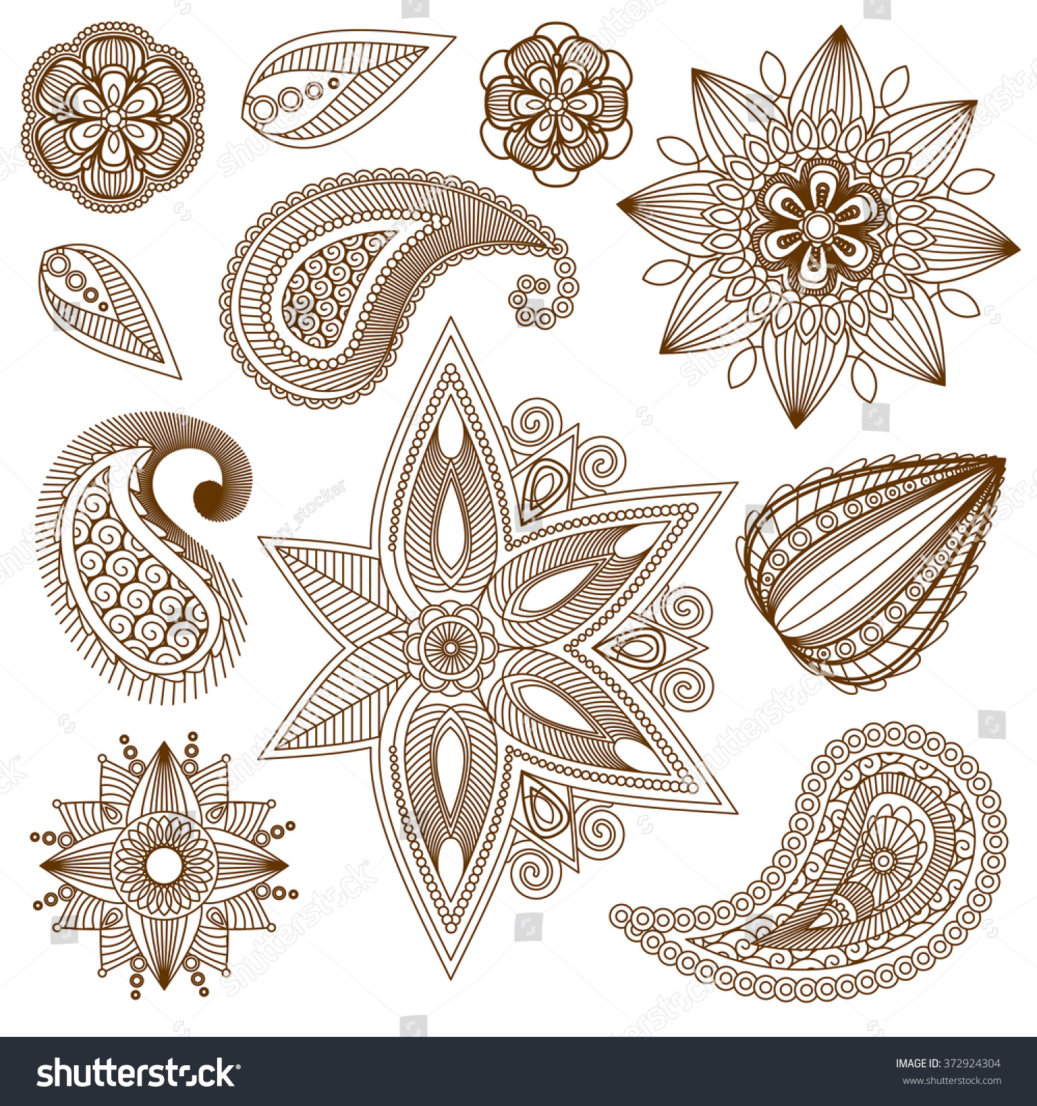 Henna Tattoo Vector: Henna Tattoo Doodle Vector Elements On Isolated Background