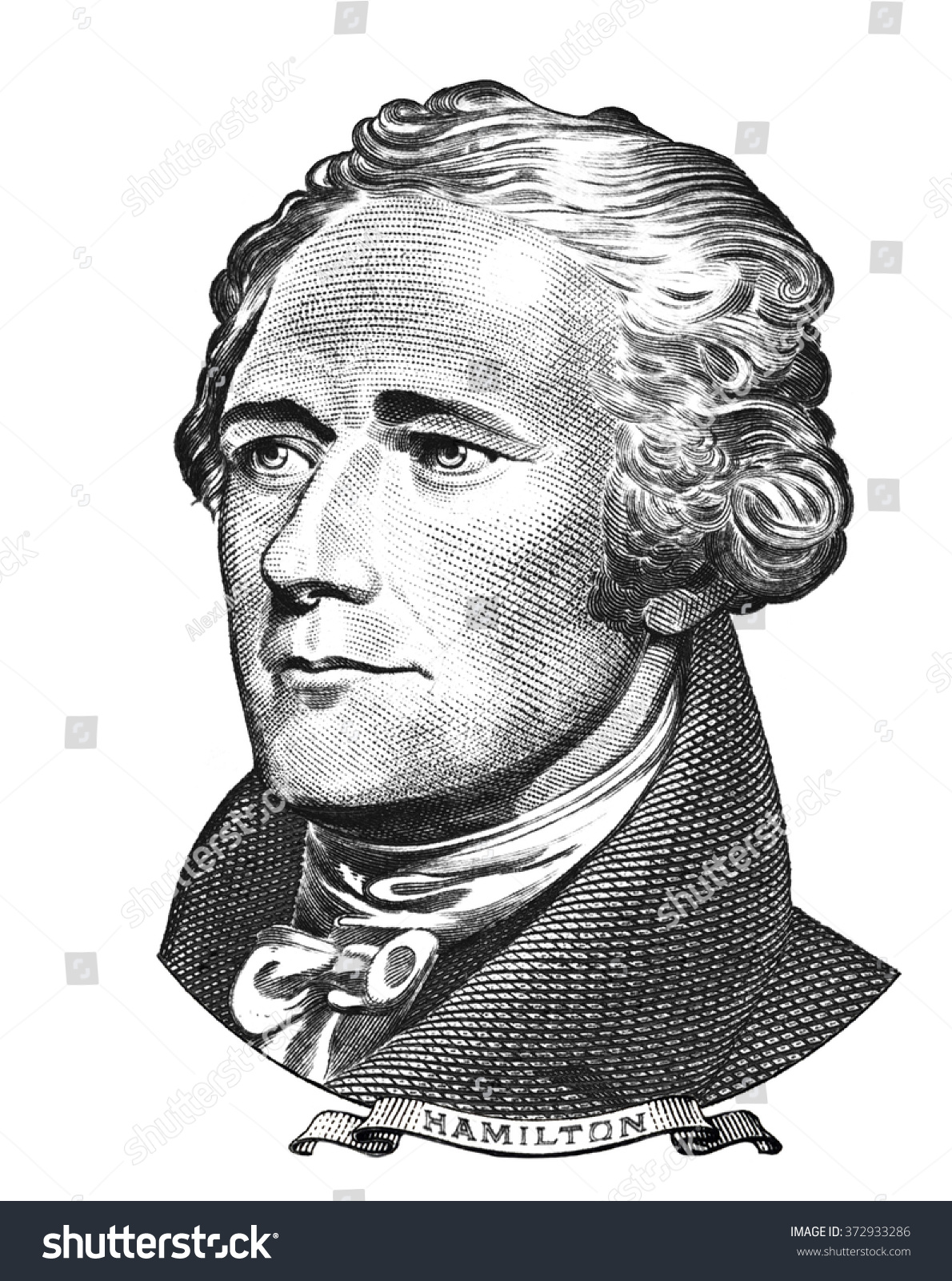 Portrait of alexander hamilton isolated on white background