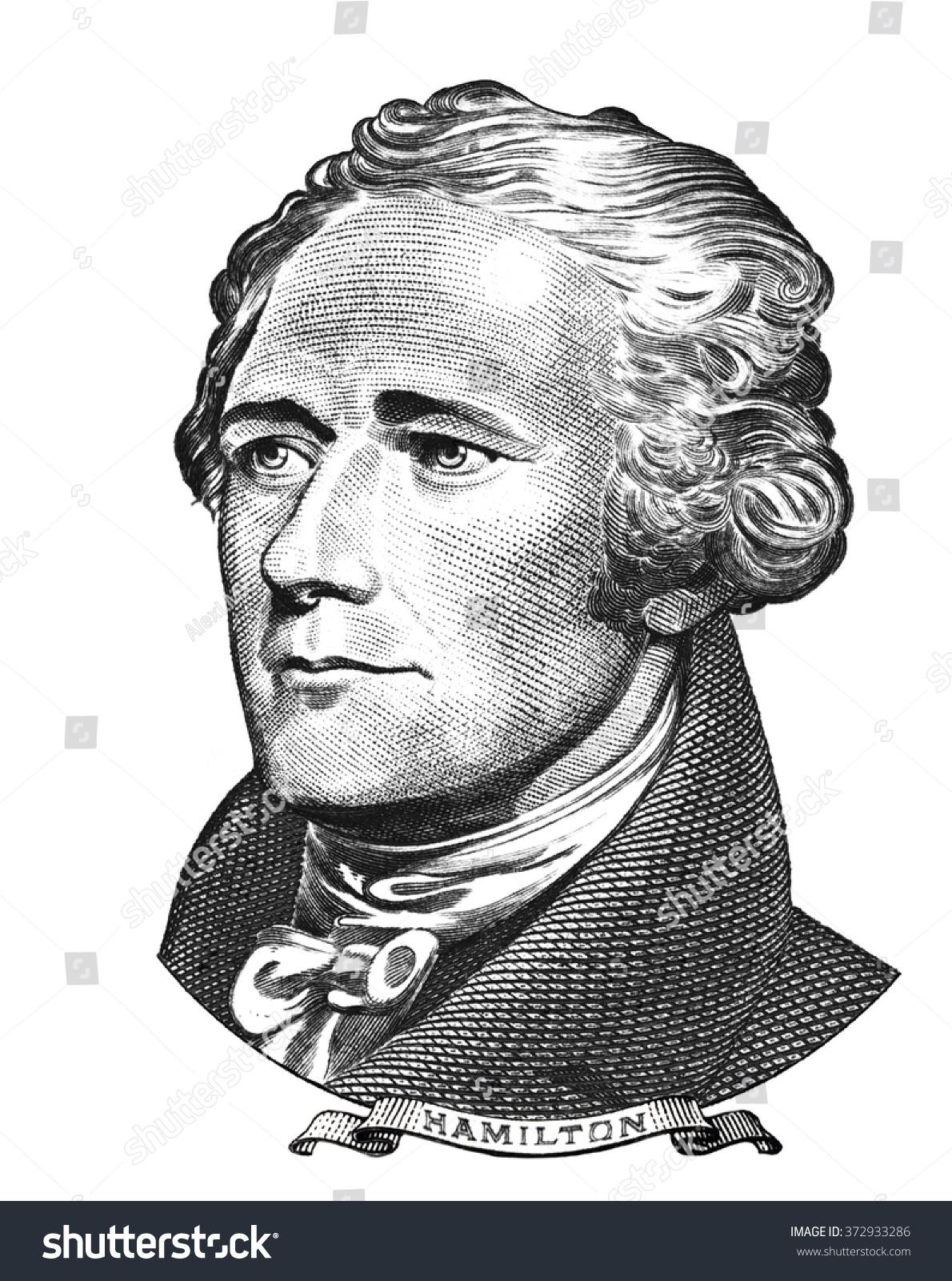 Portrait of alexander hamilton isolated on white background