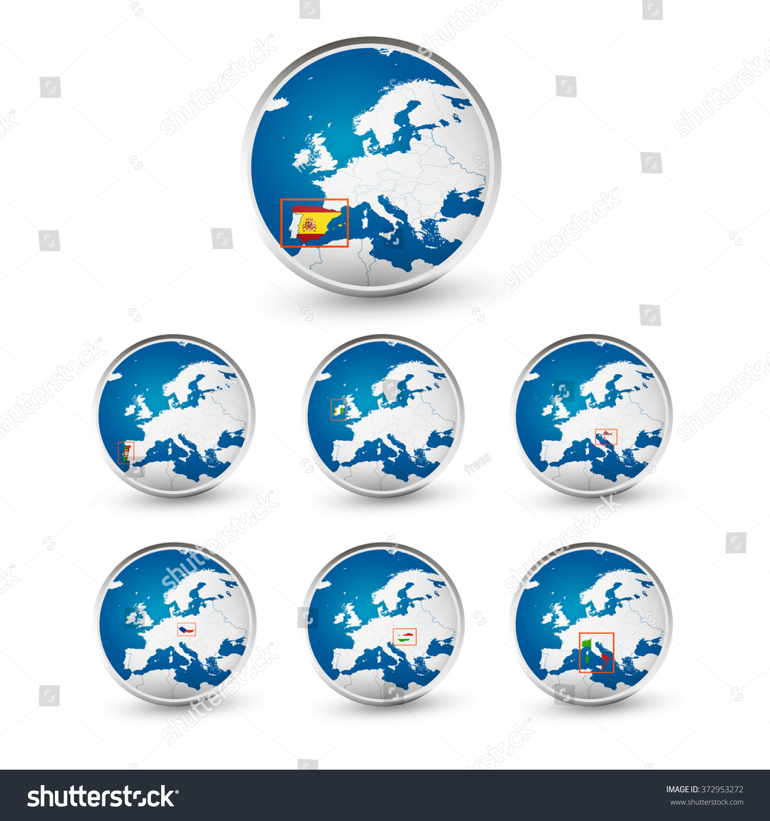 Globe set eu countries world map vectores en stock 372953272 globe set with eu countries world map location part 1 all elements are separated in gumiabroncs Choice Image