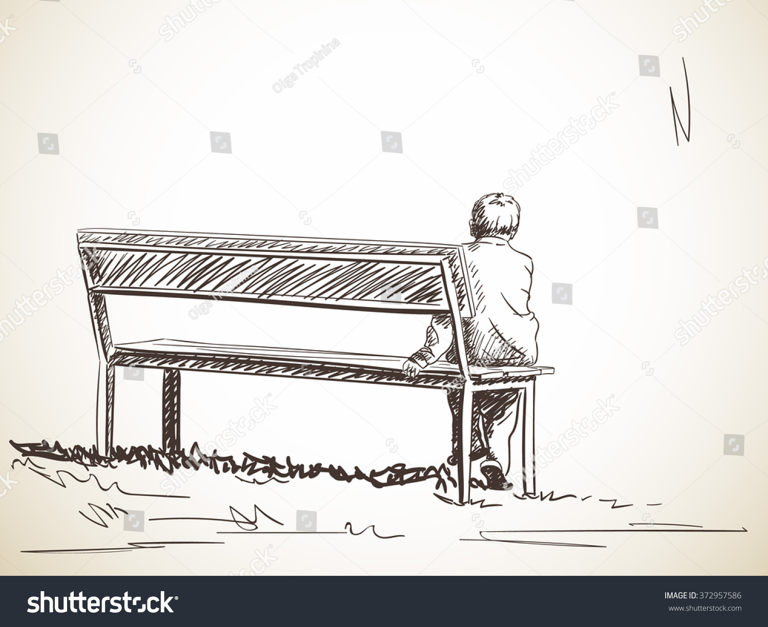 Lonely boy sitting on bench hand drawn sketch
