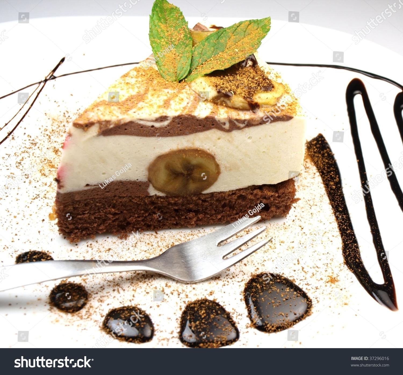 Delicious banana cake with chocolate decoration stock - Banana cake decoration ...