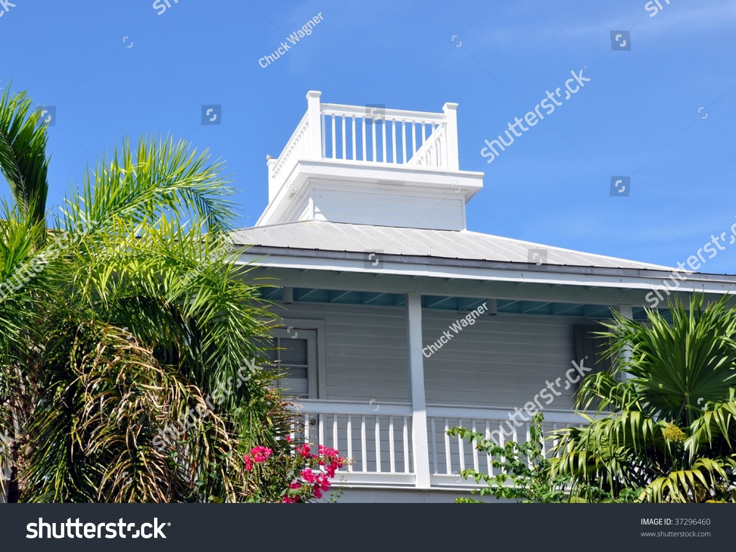 Key west style architecture with widow 39 s walk stock photo for Key west architecture style