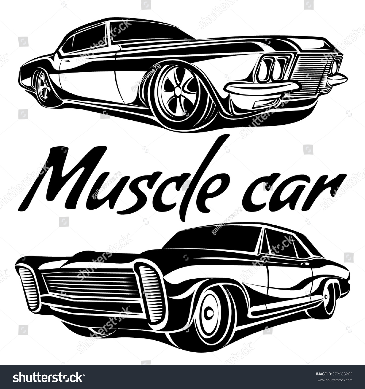 Muscle Car Vector Poster Illustrations Stock Vector