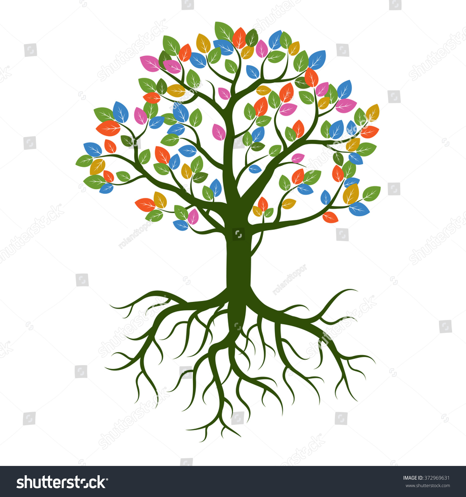 Color Tree Nd Roots Vector Illustration Stock Vector (2018 ...