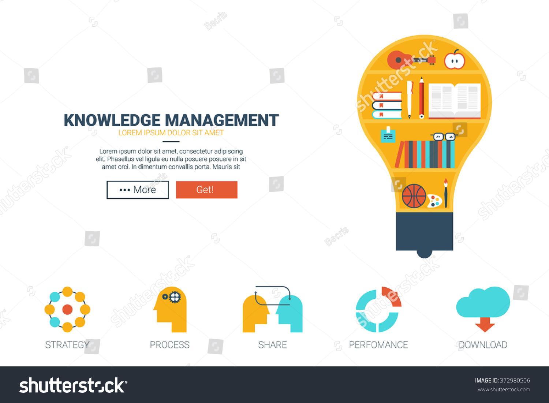 knowledge management concept flat design website stock
