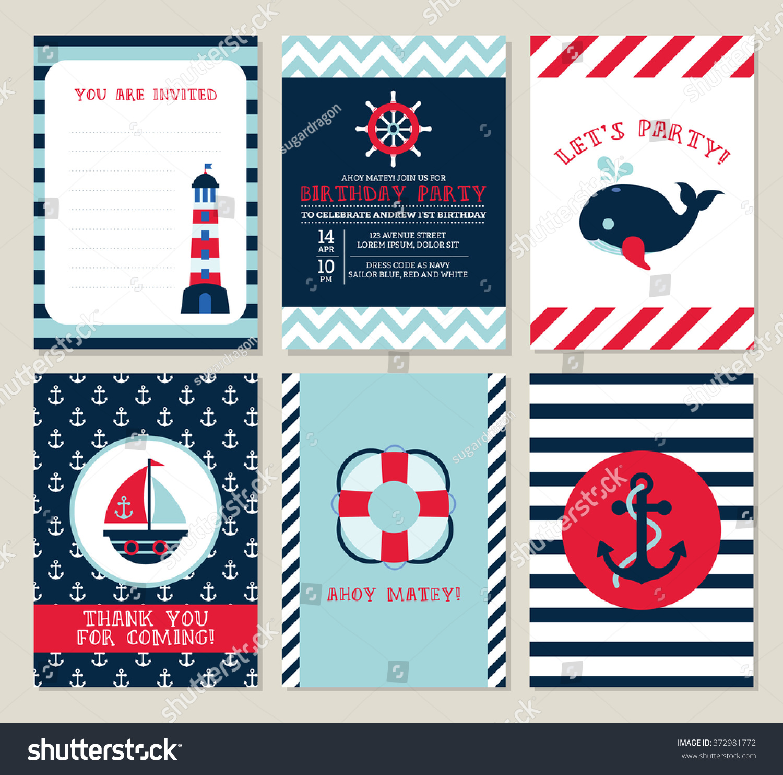 Nautical Birthday Invitation Party Template Set Stock Vector ...