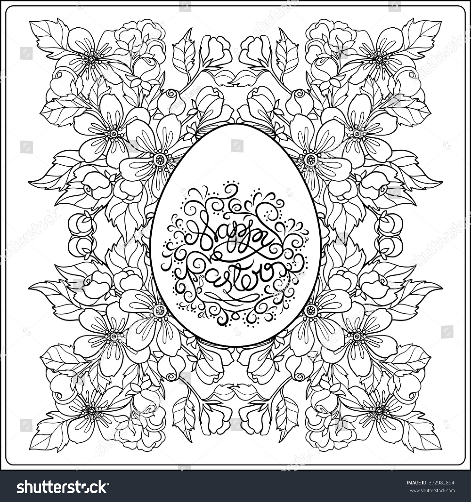 Easter Greeting Card With Flower And Easter Egg. Coloring