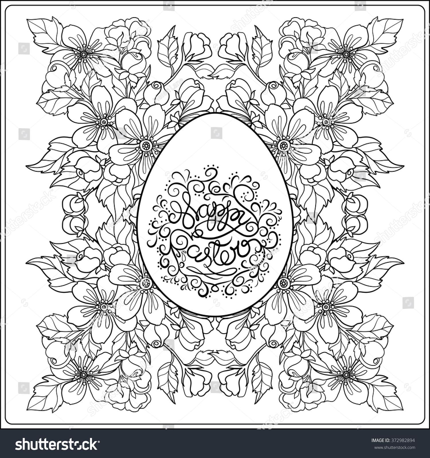 easter greeting card flower easter egg stock vector 372982894