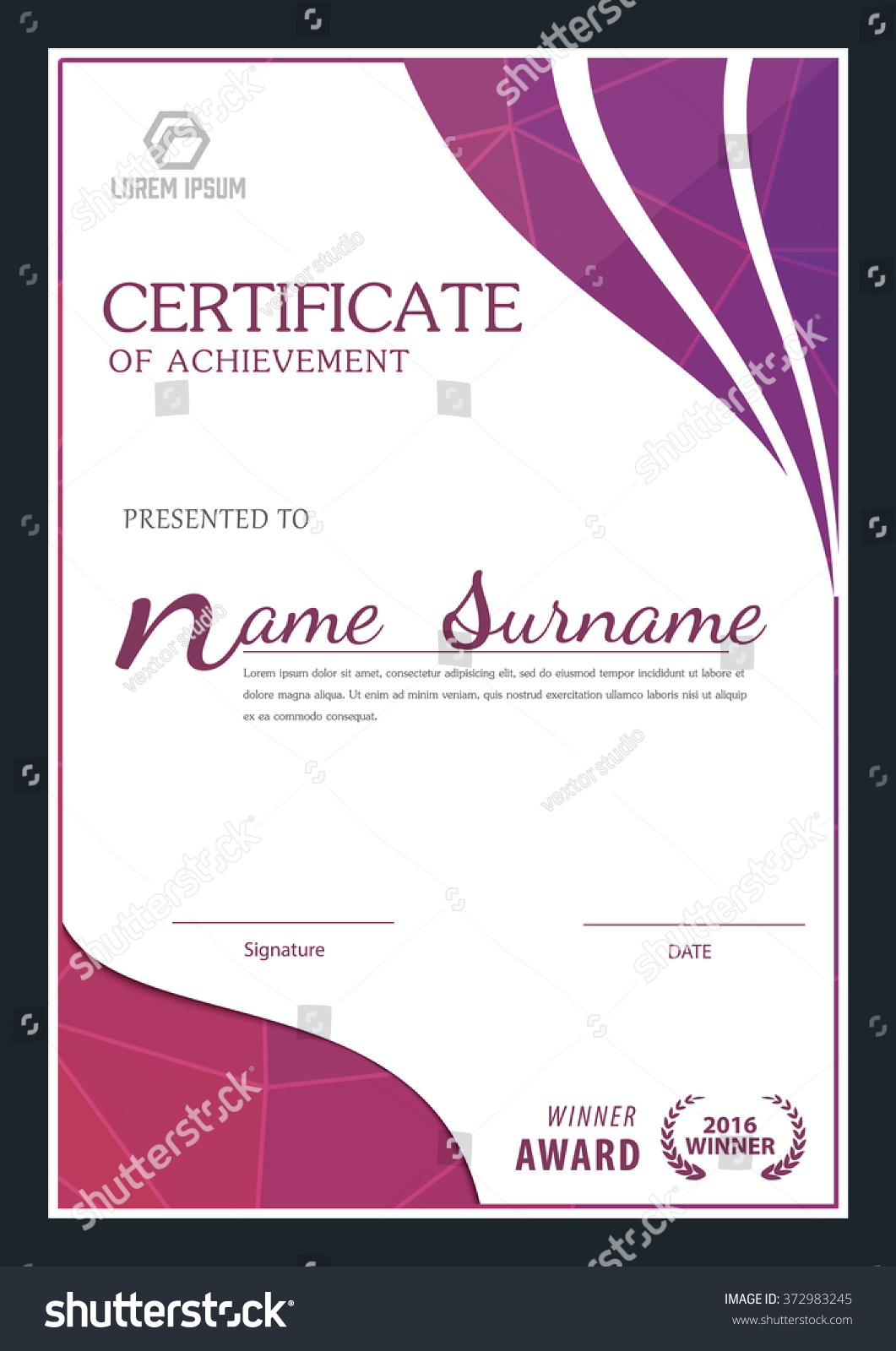 Modern Certificate Template Diploma Layout Stock Vector Royalty