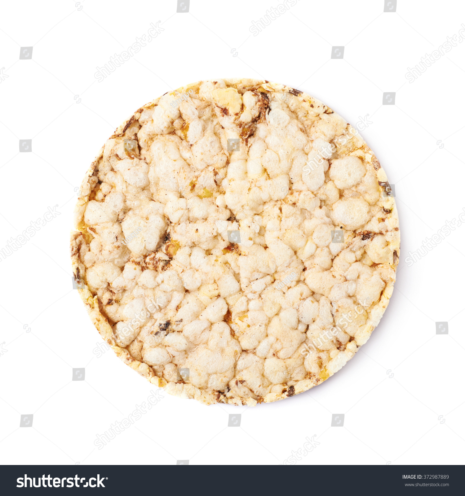 Round Diet Rice Cracker Isolated Stock Photo 372987889