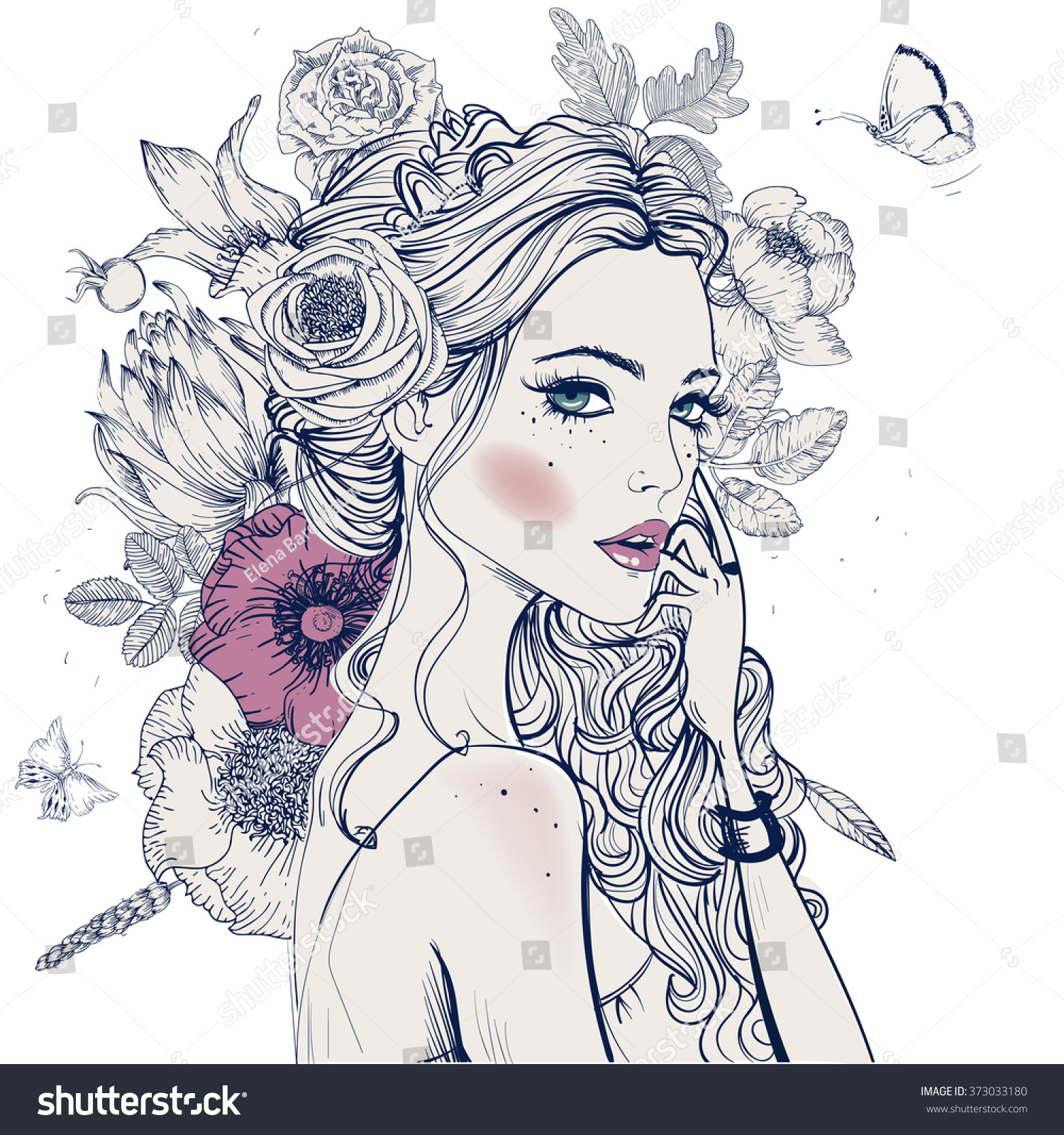 Portrait young beautiful woman flowers stock vector 373033180 portrait of young beautiful woman with flowers dhlflorist Gallery