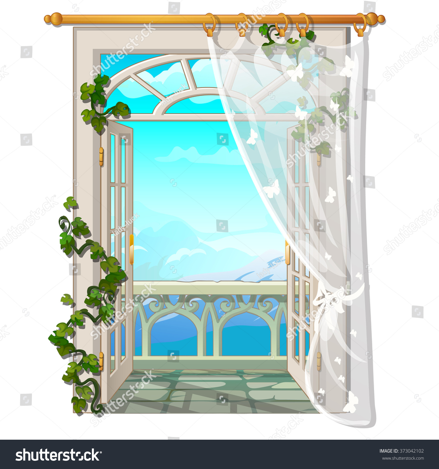 Window with access to the balcony vector 373042102 for Balcony vector