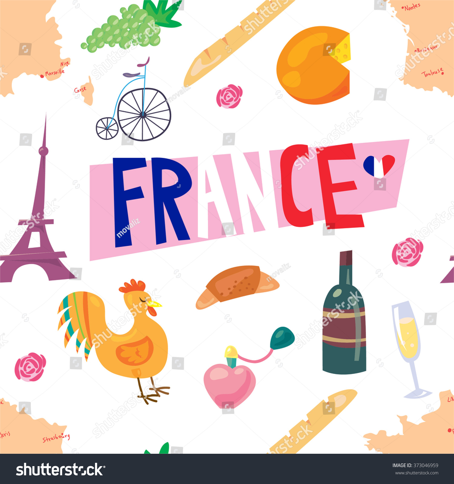 Funny Cartoon Pattern French Culture Symbols Stock Vector Royalty