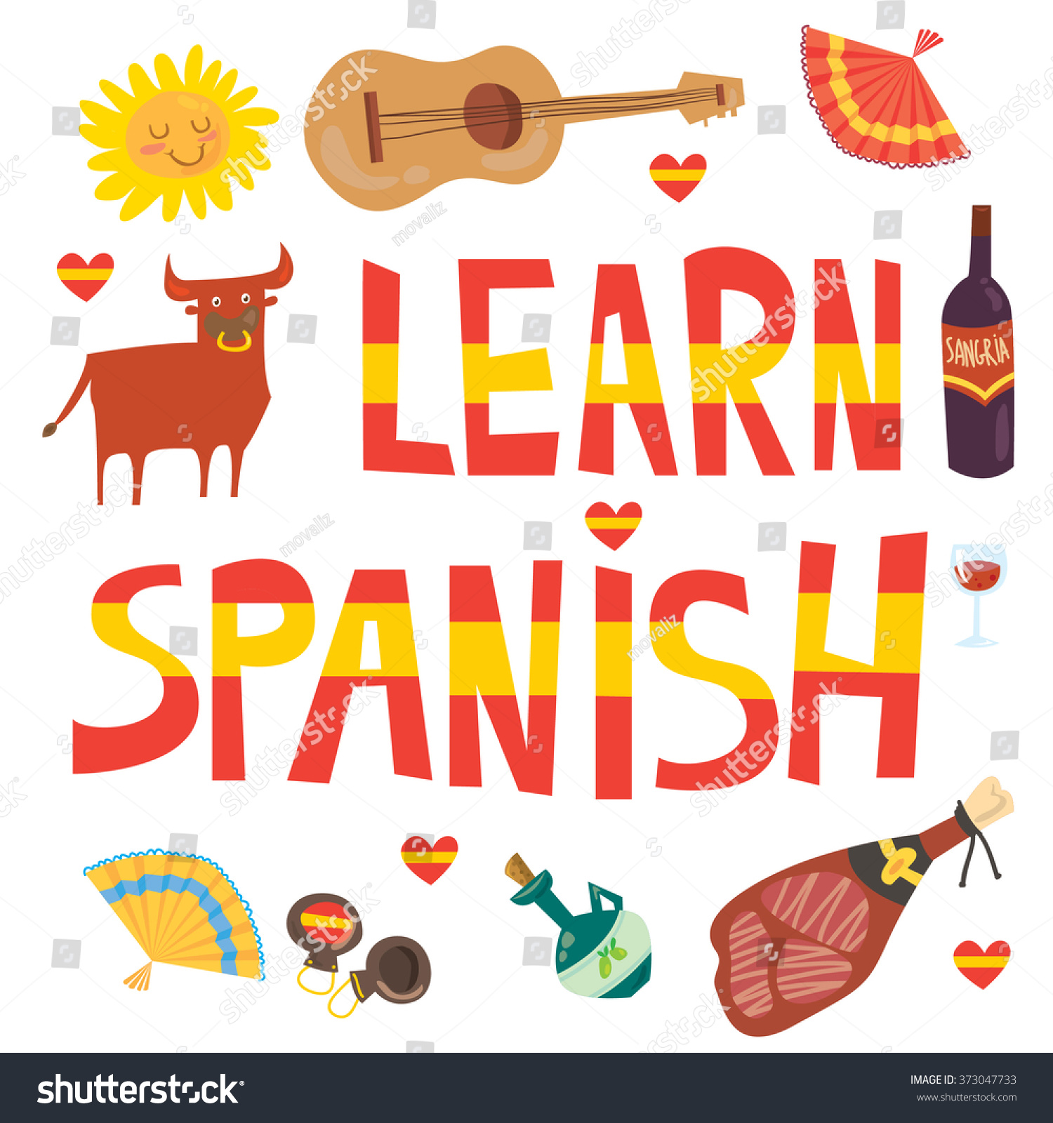 Learn Spanish Banner Language School Touristic Stock Vector Royalty