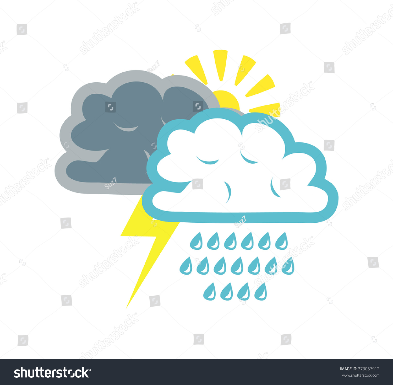 Flat Vector Image Weather Symbols Rain Stock Photo Photo Vector