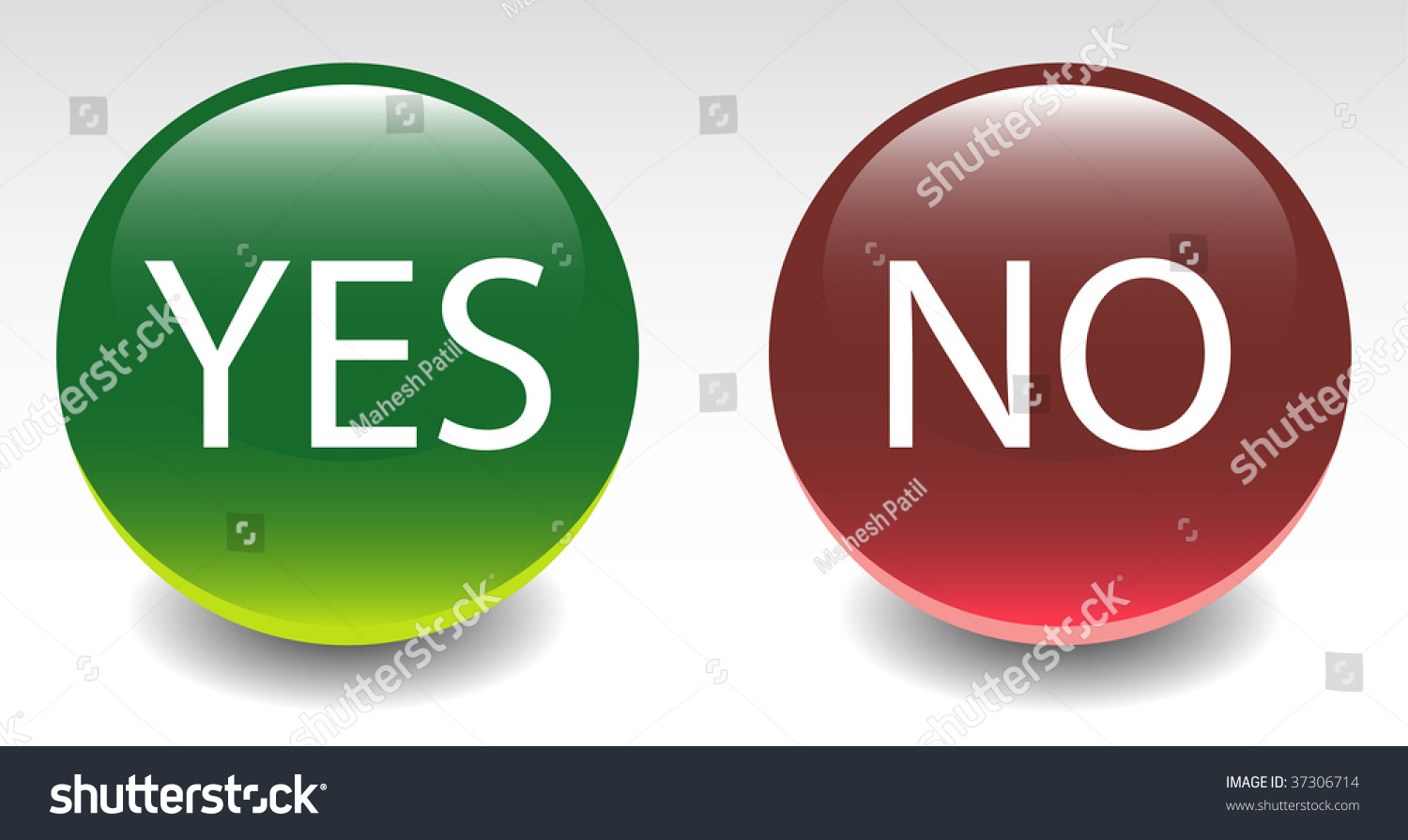 Yes & No Sign Icon Buttons Stock Vector Illustration