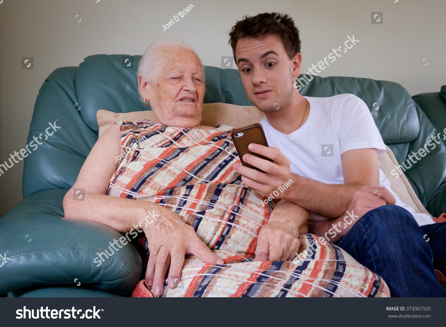 old lady and young man