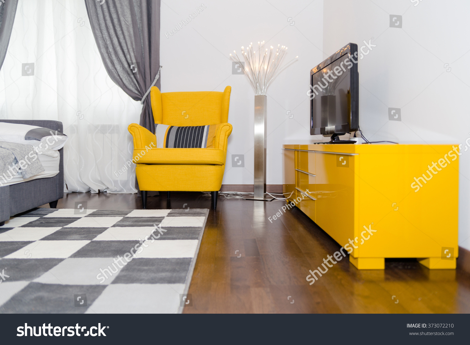 Modern Hotel Apartment 3 D Living Room Stock Photo (Royalty Free ...