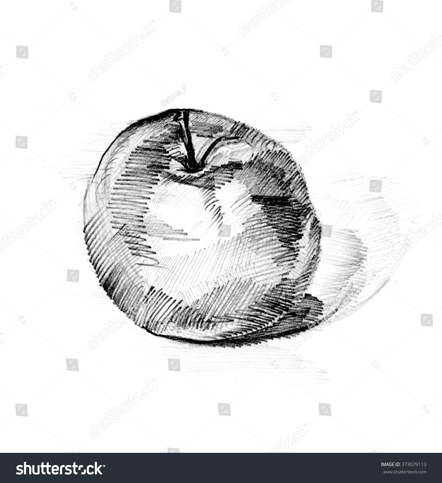 Handmade Apple Pencil Draw Pencil Line Stock Illustration 373079113