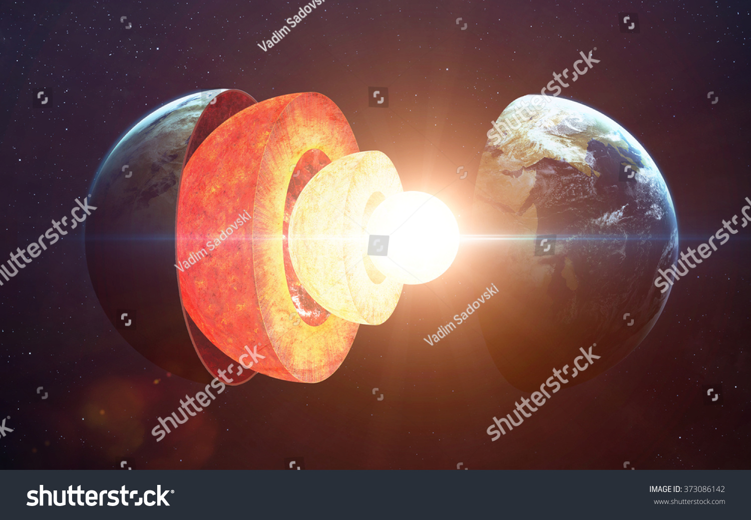 Earth core structure Elements of this image furnished by NASA