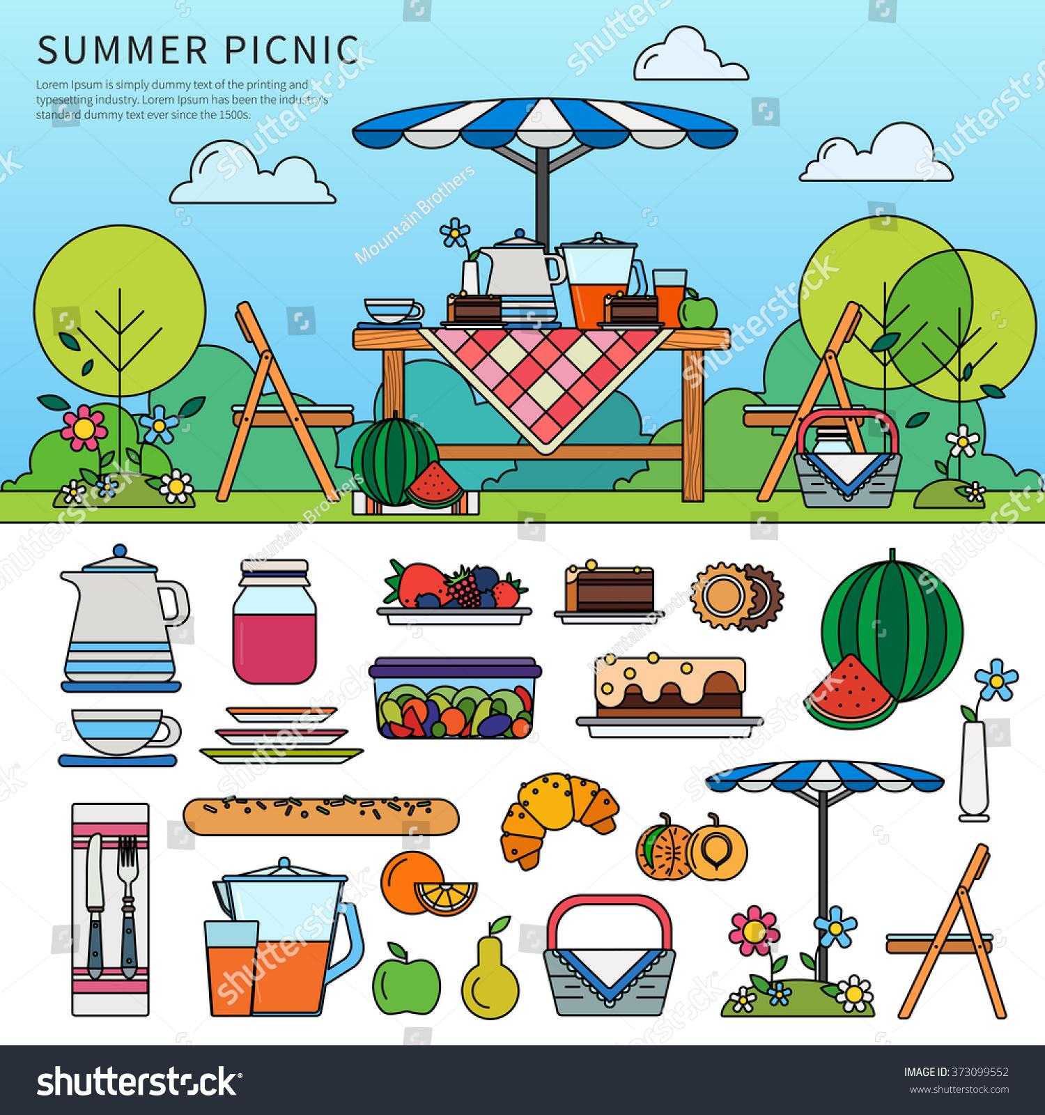 Landscape Design In A Day: Thin Line Flat Design Summer Picnic Stock Vector 373099552