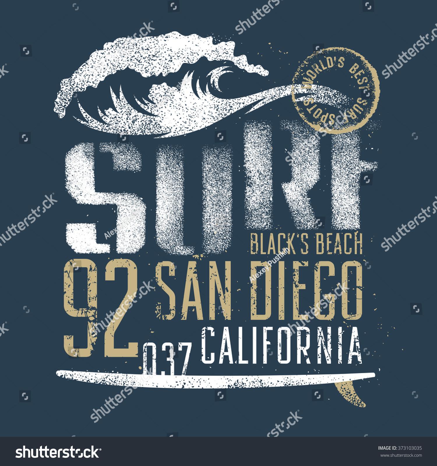Surfing artwork blacks beach san diego stock vector for Shirt printing san diego