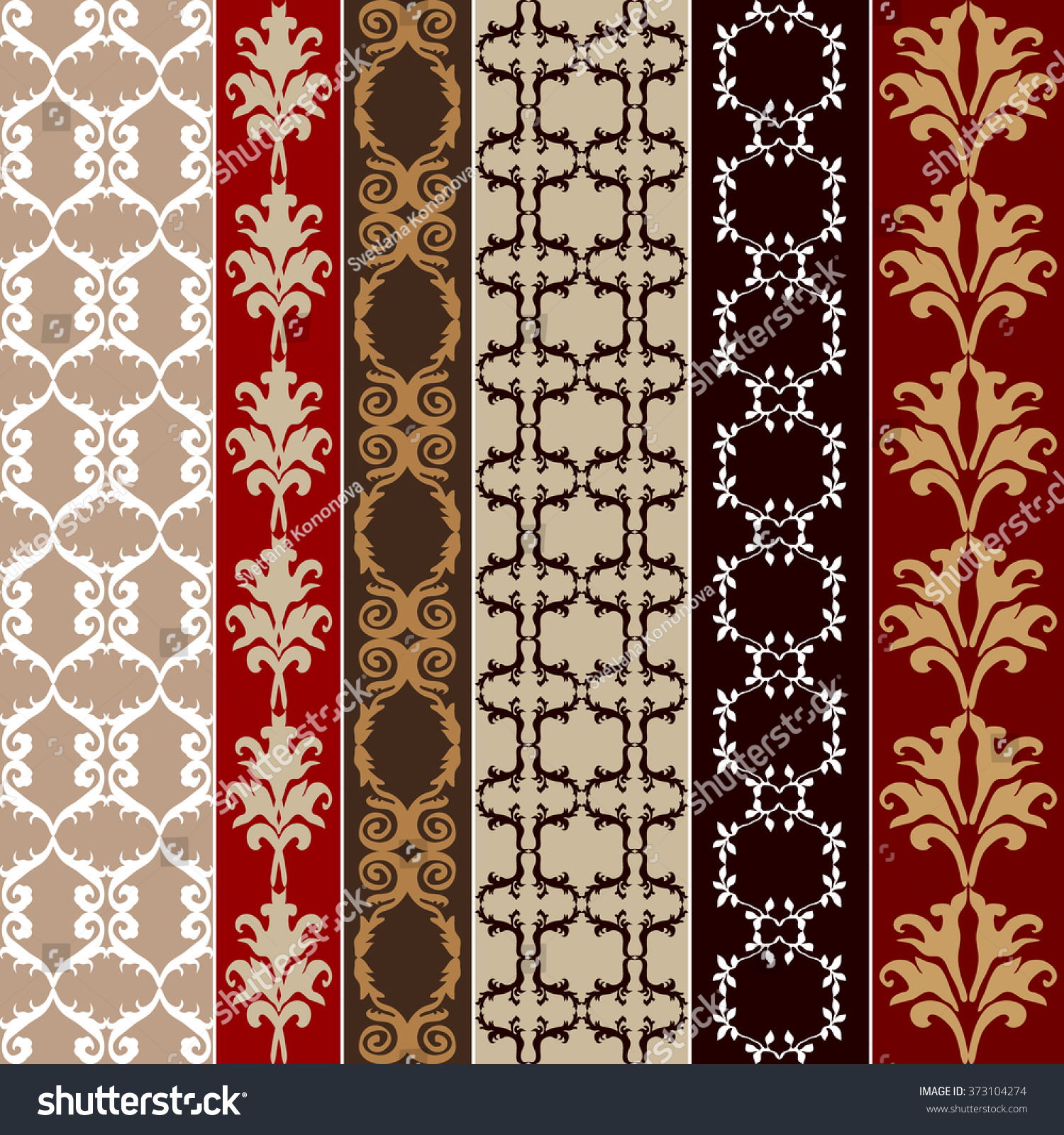 set baroque seamless silk wallpaper damask stock vector 373104274 shutterstock. Black Bedroom Furniture Sets. Home Design Ideas