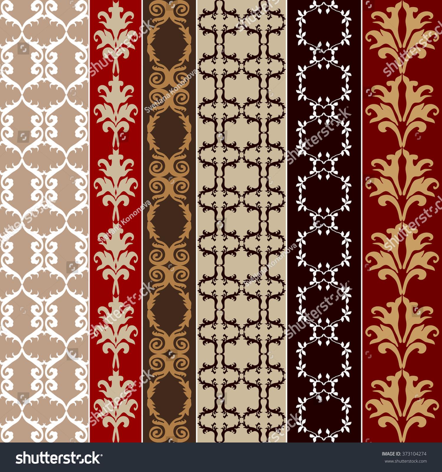 set baroque seamless silk wallpaper damask stock vector 373104274 shutterstock. Black Bedroom Furniture Sets. Home Design Ideas