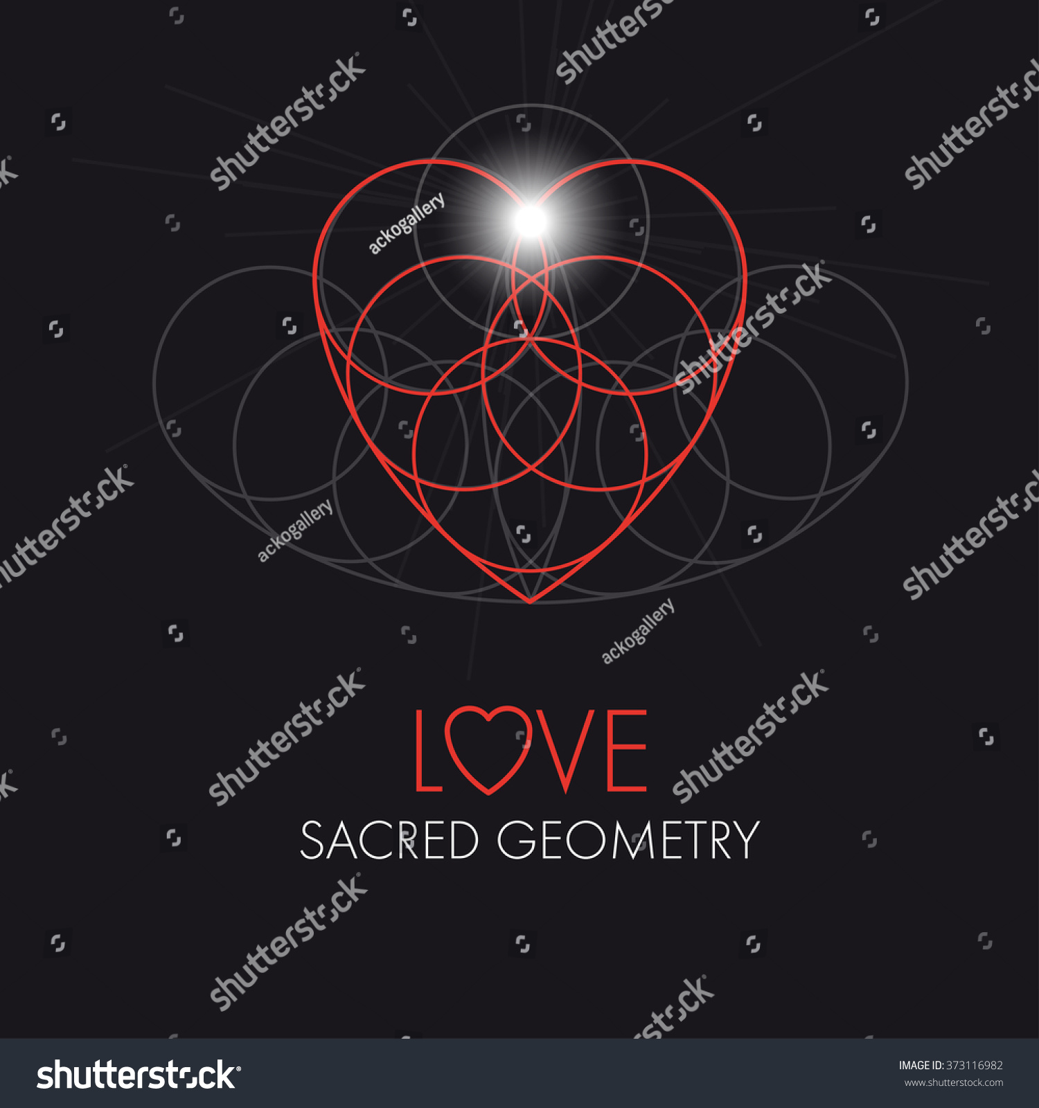 Love Heart Sacred Geometry Greeting Card Stock Vector Royalty Free