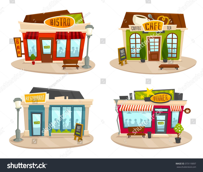 Building cartoon clipart restaurant building and restaurant building - Restaurant Buildings Set Vector Illustration Cartoon Cafe Bistro Diner Coffee House