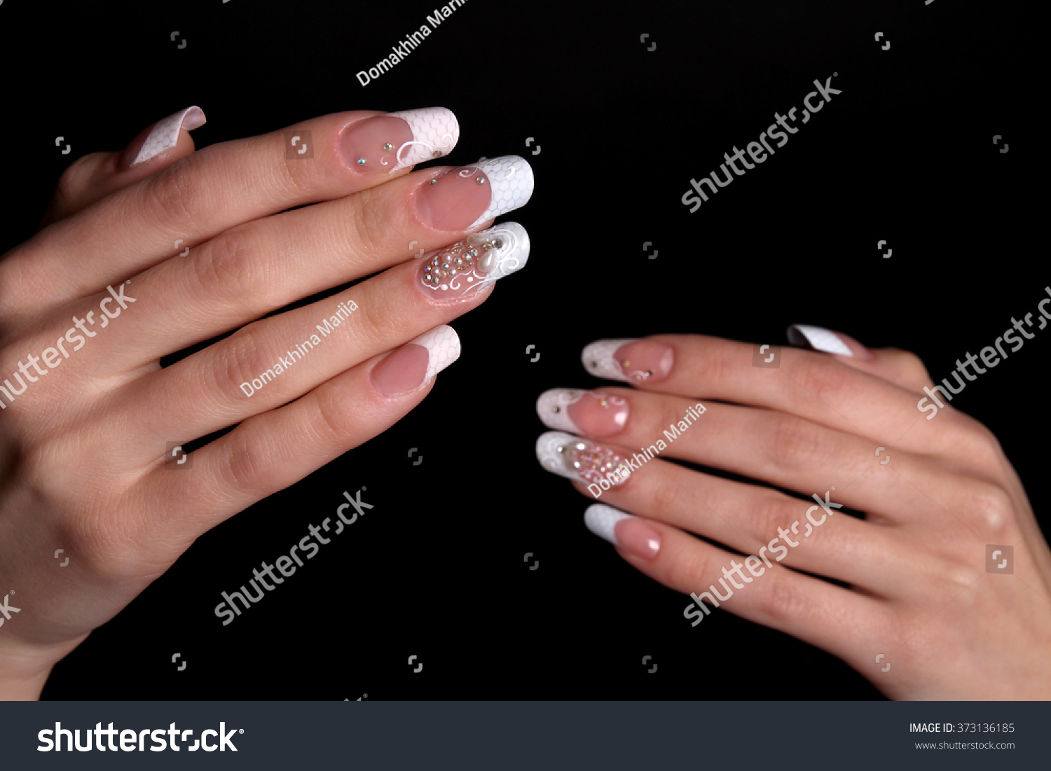 Closeup woman hands nail design trendy stock photo 373136185 closeup of woman hands with nail design trendy crackle nail polish manicure and nail prinsesfo Image collections