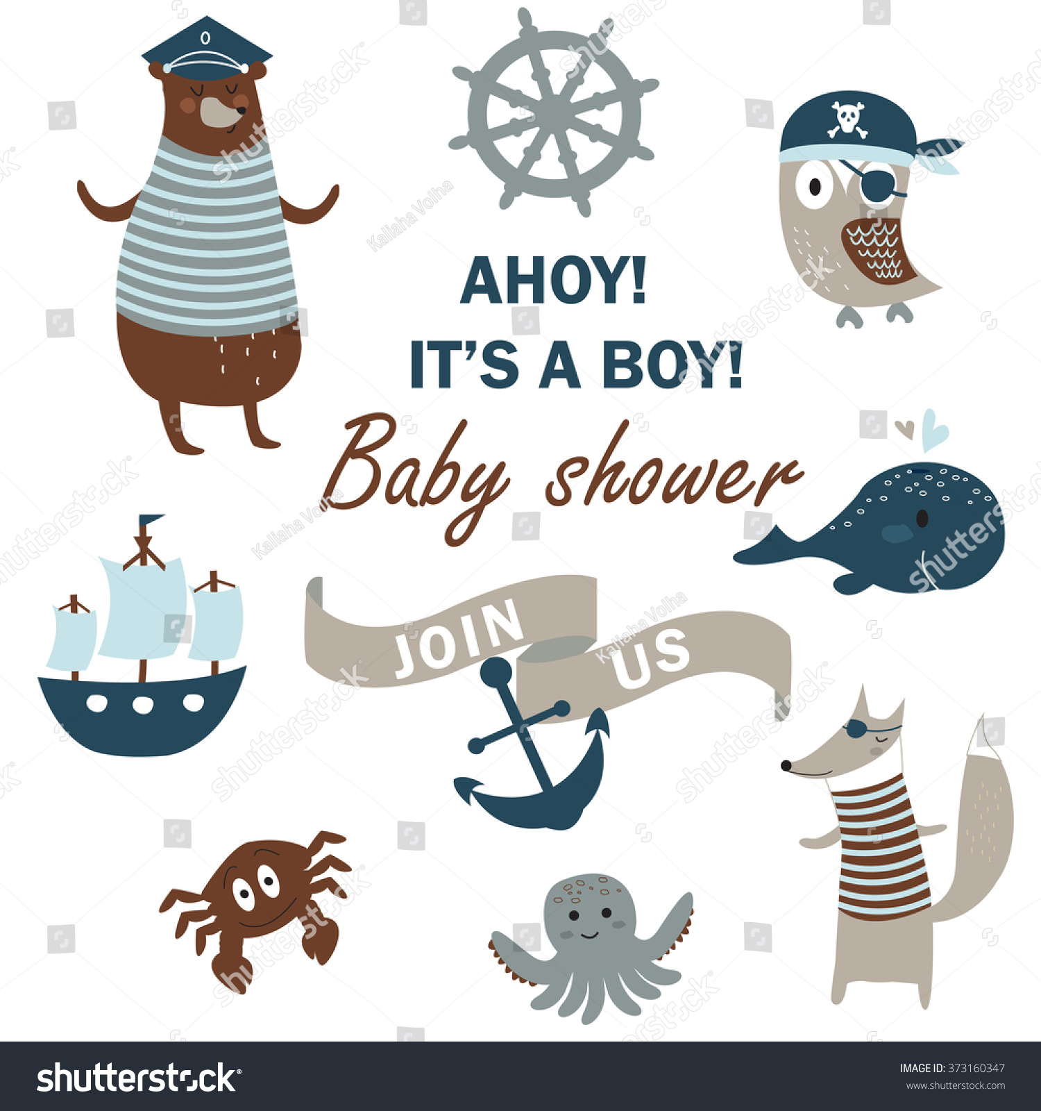 baby shower invitation cute animals nautical のベクター画像素材