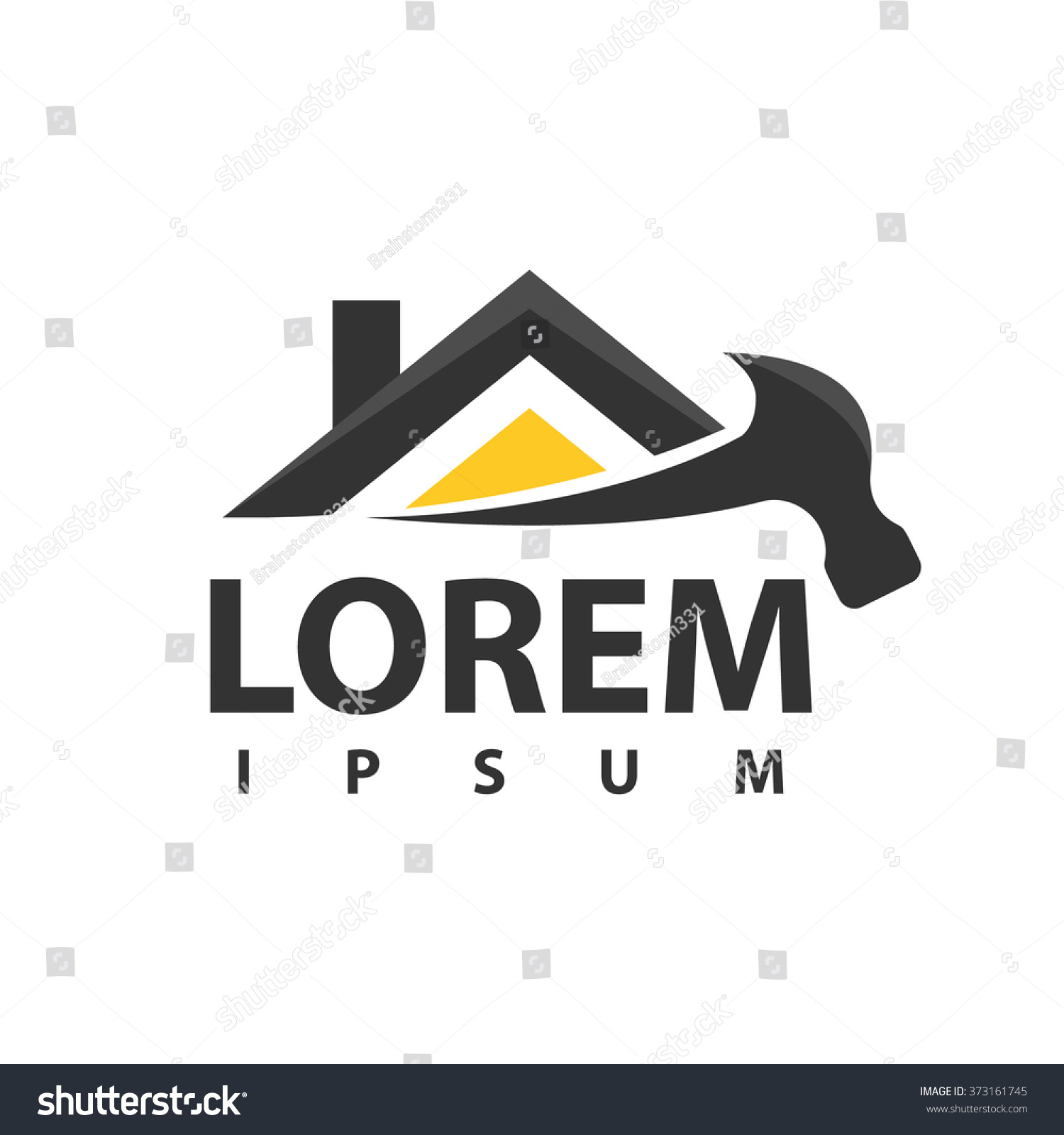 House repair logo tools icon roof stock vector 373161745 for Home improvement logos images