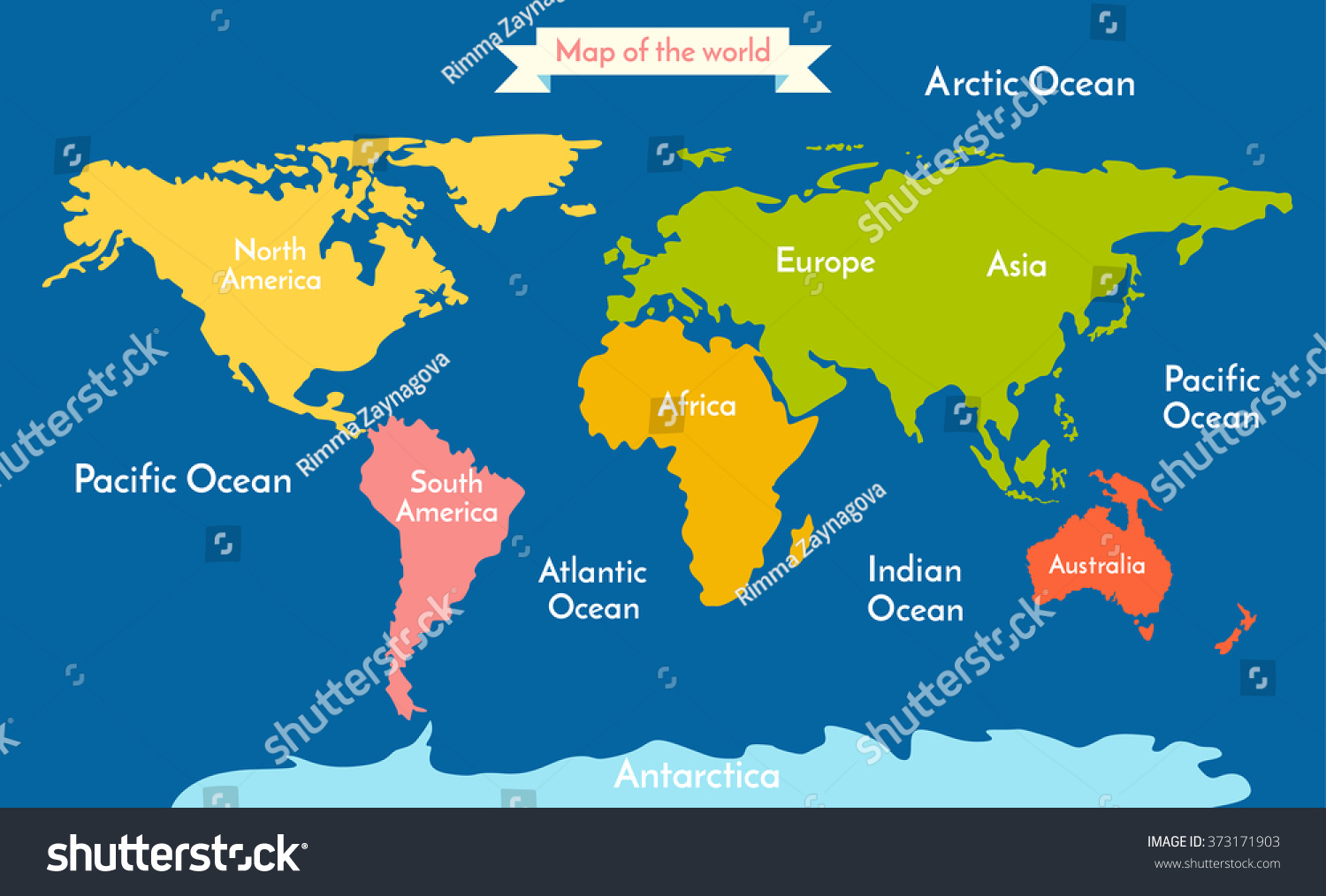 World map vector illustration inscription oceans vectores en stock world map vector illustration with the inscription of the oceans and continents continents different gumiabroncs Gallery