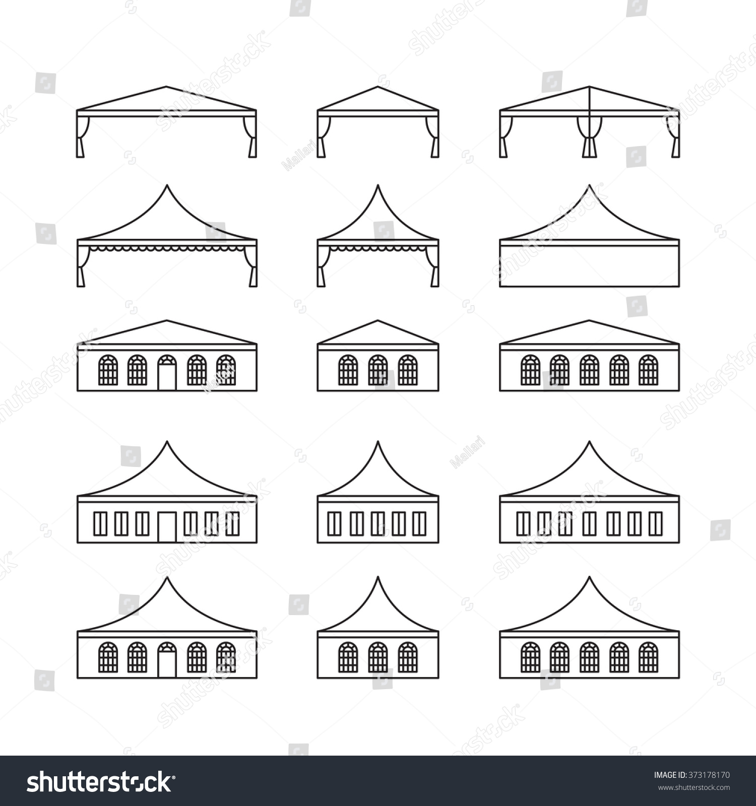 Icon Set Various Types Event Tent Stock Vector 373178170