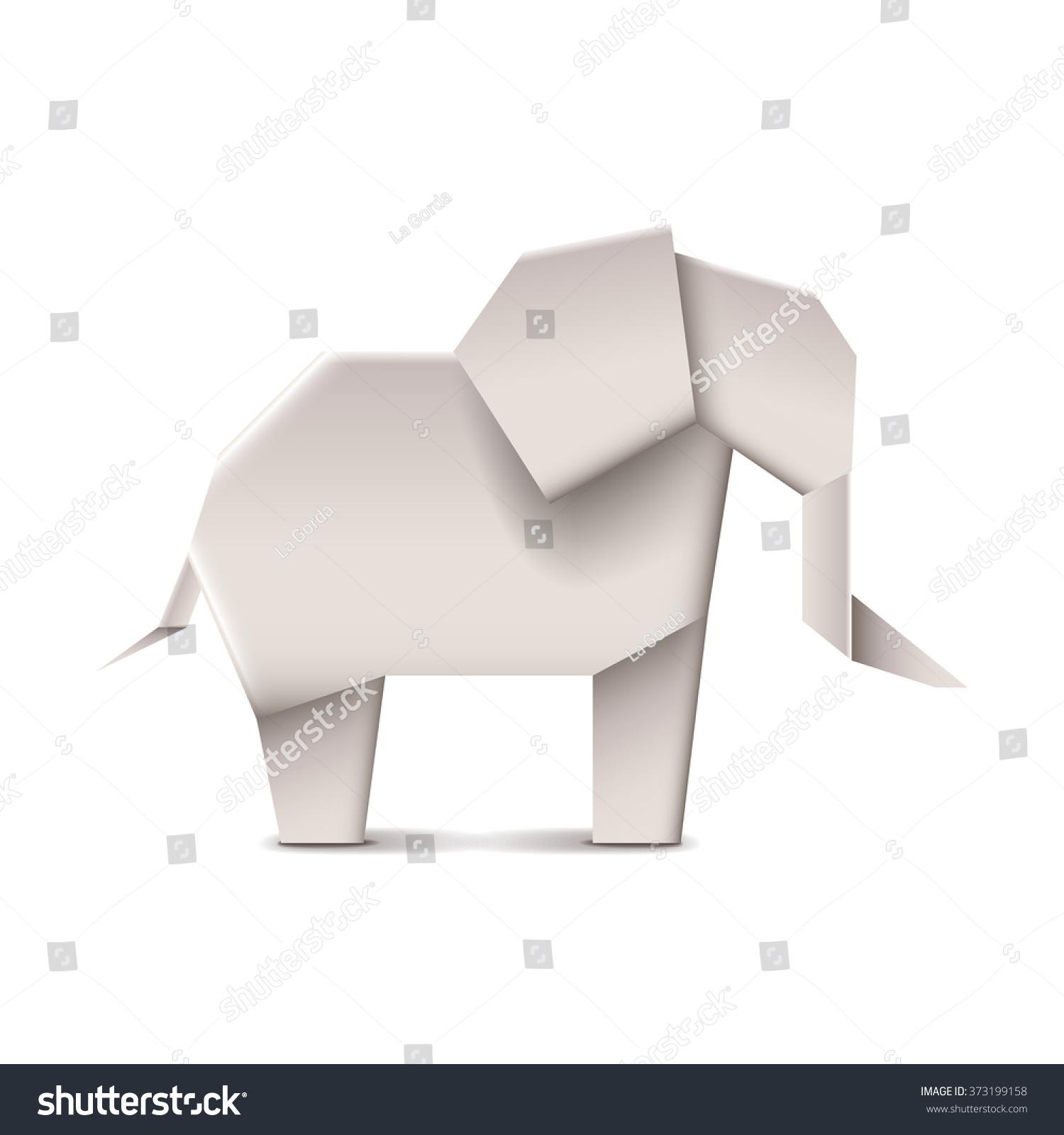 Origami elephant isolated on white photorealistic stock vector origami elephant isolated on white photo realistic vector illustration jeuxipadfo Choice Image