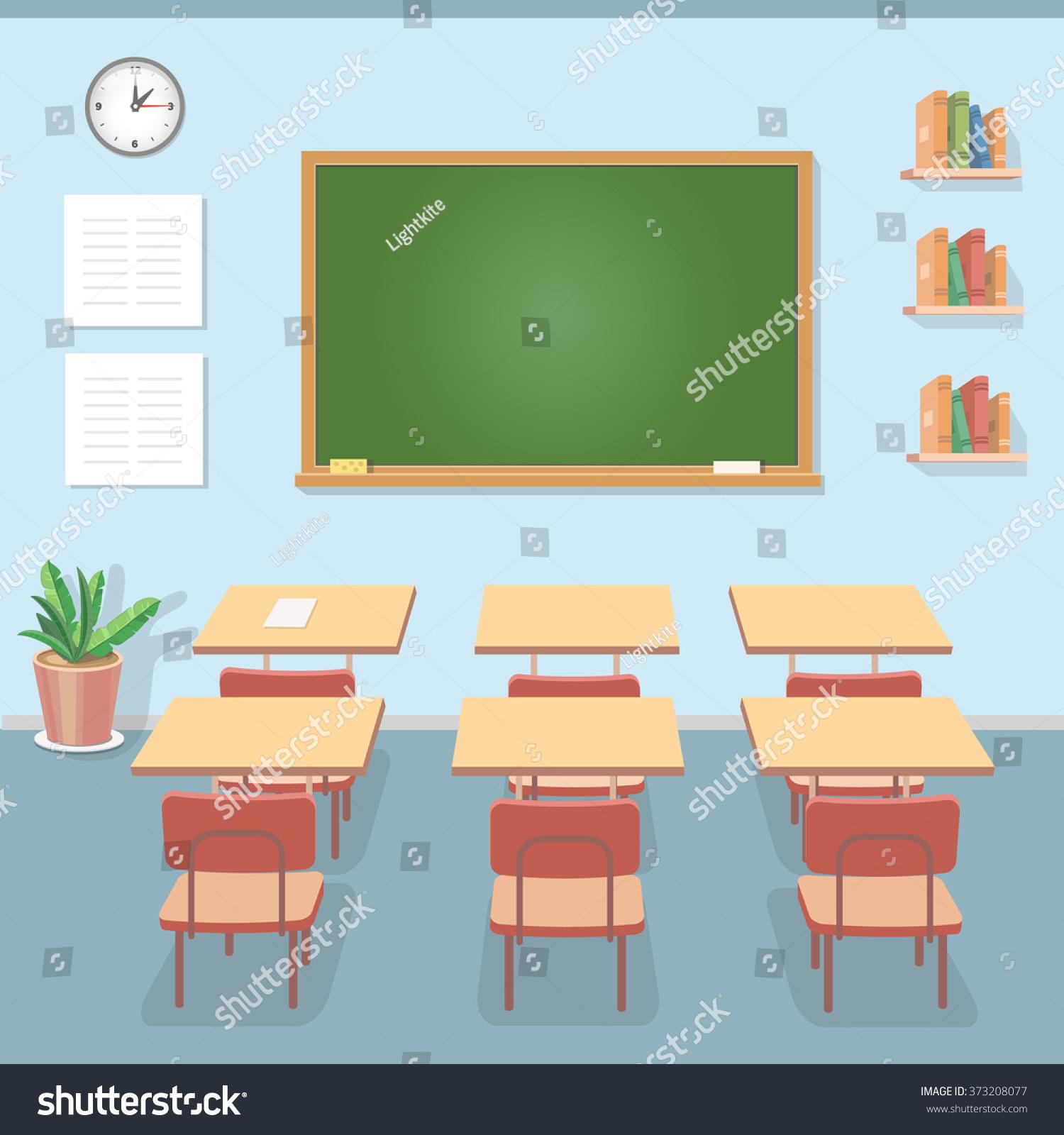 Modern Classroom Vector ~ School classroom chalkboard desks class education stock