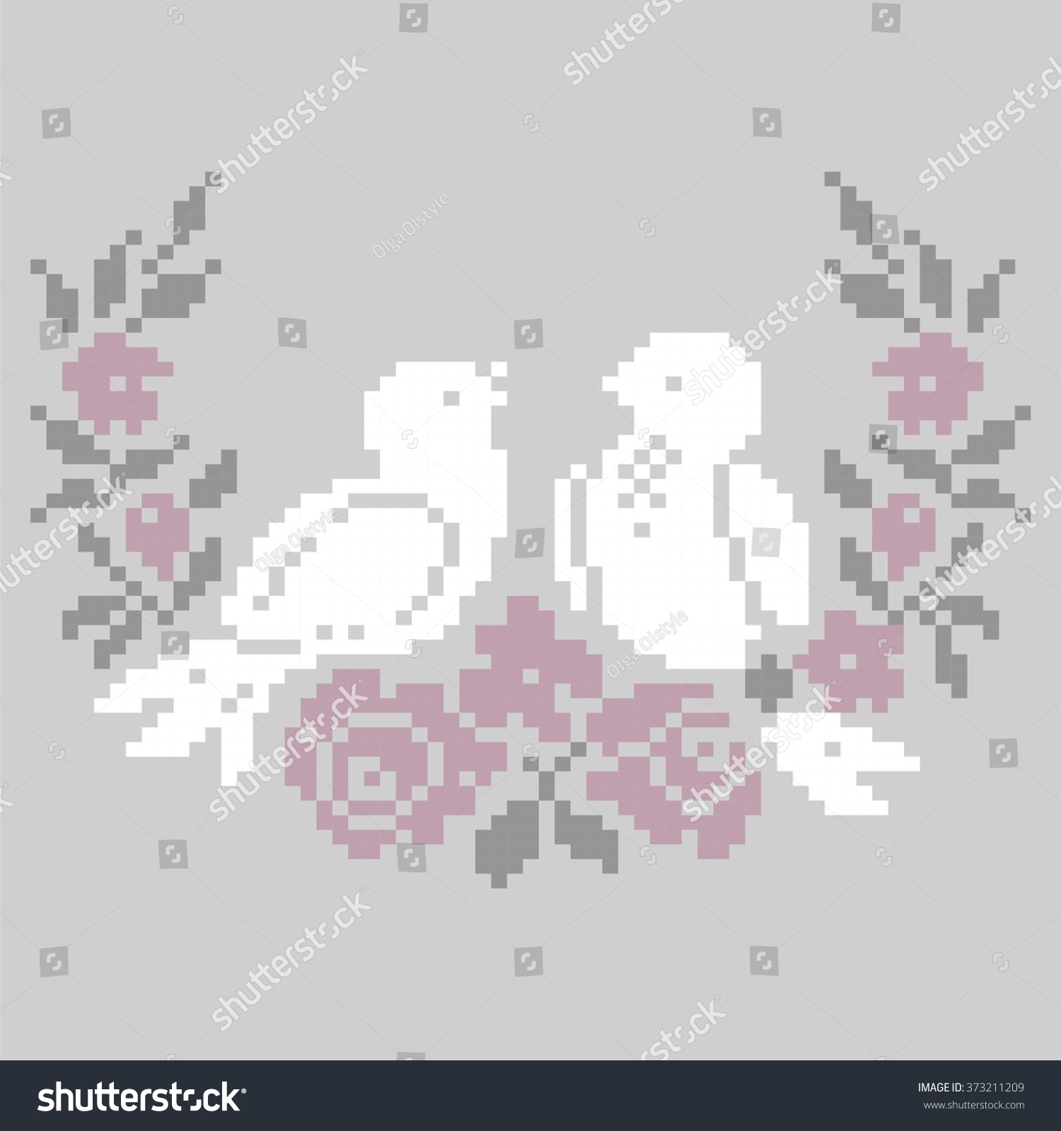 Template Knitting Embroidery Crossstitch Birds Flowers Stock Vector ...
